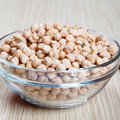 Chickpeas in a bowl on wooden table Royalty Free Stock Image