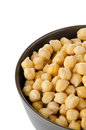 Chickpeas in a brown bowl Royalty Free Stock Image
