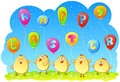 Chicks with balloons happy easter vector illustration eps Royalty Free Stock Image