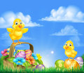 Chicks and easter eggs basket scene cartoon baby chicken birds chocolate painted spring flowers in a field with sun rising Royalty Free Stock Images