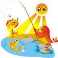 Chicks on fishing in clear sunny day Stock Image