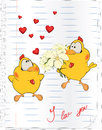 Chicks in love cartoon two chickens lovers with a bunch of flowers Stock Photography
