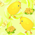 Chicks and primroses seamless texture with shadow on an green background Royalty Free Stock Photos