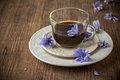 Chicory flowers and tea from chicory selective focus Stock Image