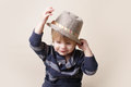 Chid in fedora hat fashion child fat or clothing concept Royalty Free Stock Photos