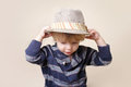 Chid in fedora hat fashion child fat or clothing concept Royalty Free Stock Image