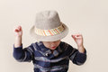 Chid in fedora hat fashion child fat or clothing concept Stock Image