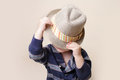 Chid in fedora hat fashion child fat or clothing concept Stock Photos