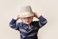 Chid in fedora hat fashion child fat or clothing concept Royalty Free Stock Photo