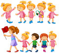 Chidren characters in different actions Royalty Free Stock Photo