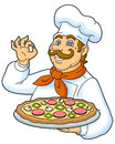 Chief cooker cook pizza on a plate funny chef presenting a delicious pizza designed to decorate the restaurant menus vector Royalty Free Stock Photography