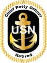Chief Petty Officer Retired in black United States Navy USN logo decal vector .eps .ai gold rank golf cart DIY