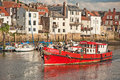 Chieftain fishing boat going out of whitby harbour where it caters for sporting fishermen Stock Images