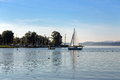 Chiemsee the lake in south of bavaria with boats Royalty Free Stock Photography