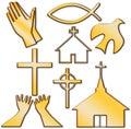 Chiesa e l altro christian symbol set Fotografie Stock