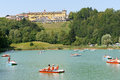 Chiesa italy august lavarone lake is located at chiesa a locality of the small town of lavarone in the italian region of trentino Stock Images