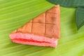 Chiffon cake stuffed with strawberry Stock Photos