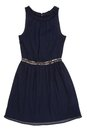 Chiffon dress dack blue with the sparkles on belt Stock Photography