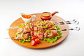 Chiken shish kebab in tomato sause Stock Photo