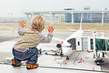 Child, airport, travel, baby, family, vacation, gate, boy, airplane, plane, aircraft, passenger, boarding, departure, summer, wait Royalty Free Stock Photo