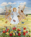 Child angel descends sky to earth which city flowers butterflies flying around Royalty Free Stock Images