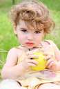 Child with the apple Royalty Free Stock Images