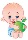 The child with an apple Stock Images