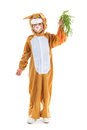 Child as easter hare with carrots dressed isolated over white background Stock Photography