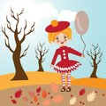 Child autumn illustration Royalty Free Stock Photography