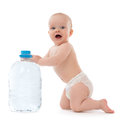 Child baby girl sitting with drinking water infant big bottle of in diaper and give five open hand sign smiling on white Royalty Free Stock Photography