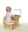 Child baby girl toddler typing on modern computer laptop keyboar Royalty Free Stock Photo