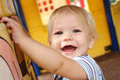 Child baby at a playground happy smiling Stock Photography