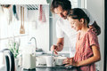 Child baking with parent Royalty Free Stock Photo