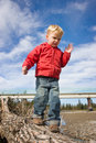 Child balancing on log Royalty Free Stock Images
