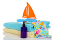Child bathing suit towels toy ready for beach Royalty Free Stock Photo
