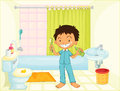 Child in a bathroom illustration image Stock Photography