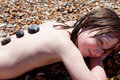 Child beach sunbathing relaxing Royalty Free Stock Photos