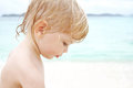Child on beach toddler a tropical portrait of face Royalty Free Stock Photo