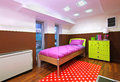Child bedroom small interior with colorful furniture Stock Images