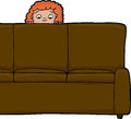 Child behind sofa scared red haired looking from Royalty Free Stock Photo