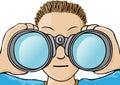 Child with binoculars Royalty Free Stock Photo