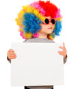 Child with blank board little clown wig holding white isolated Stock Photo