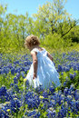 Child in Blue Bonnets Royalty Free Stock Photo