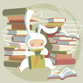 Child and books in bunny costume its favorite book Royalty Free Stock Photography