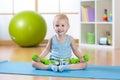Child boy doing fitness exercises Royalty Free Stock Photo