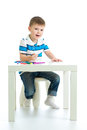 Child boy drawing color felt pen Royalty Free Stock Photos
