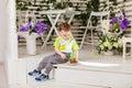 Child boy eat birthday cake Royalty Free Stock Photo