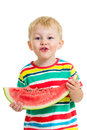 Child boy eating watermelon isolated on white Royalty Free Stock Photography