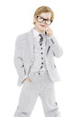 Child boy in glasses and suit isolated over white background smart little kid portrait Royalty Free Stock Photography