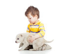 Child boy playing with puppy dog kid on white background Stock Image